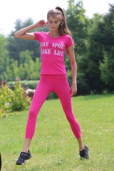 Костюм для фитнеса: легинсы и футболка FIORITA