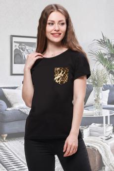 Футболка с леопардовым карманом Brosko