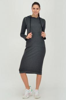 Серое трикотажное платье с капюшоном Viserdi