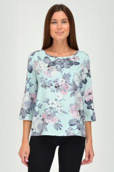 Голубая блузка с цветами Viserdi